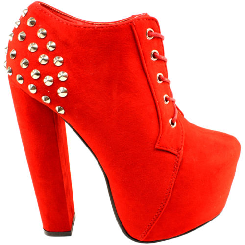 Womens Silver Stud Suede Platform High Heel Ankle Shoes Boots Ladies New 3 8   eBay