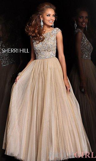 Sherri Hill Beaded Ball Gown, Cap Sleeve Ball Gowns- PromGirl