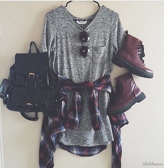 dress boots bag glasses grey black grunge pale tumblr outfit backpack dressshirt shirt shoes cute style short dress button up blouse button shirt shirt dress sunglasses top stripes drmartens long grey shirt flannel shirt flannel grey shirt t-shirt t-shirt dress grey dress black backpack red boots