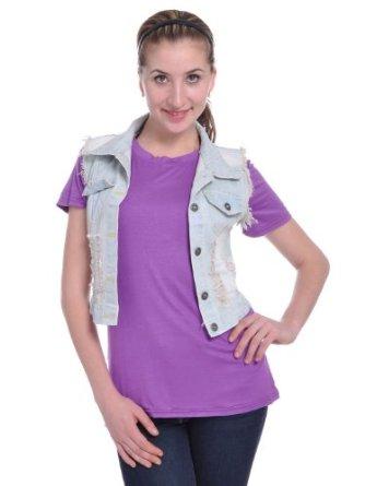 Amazon.com: Anna-Kaci S/M Light Blue Denim Raw Edge Distressed Style Light Wash Crop Vest: Clothing