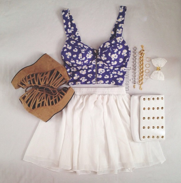 skirt heels top midriff wallet bow floral white blue shoes