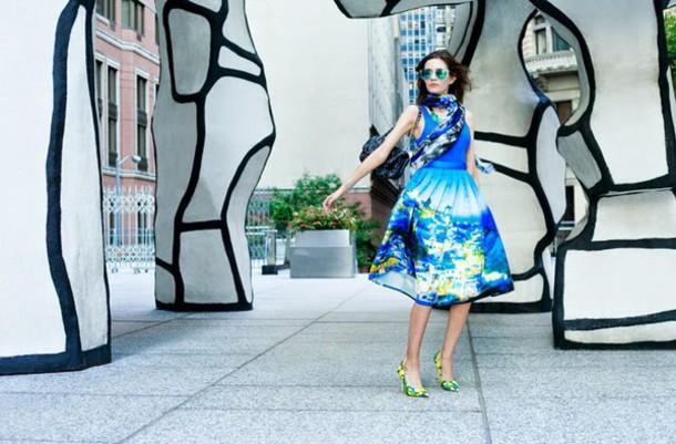 oh my blog blogger skirt scarf print blue
