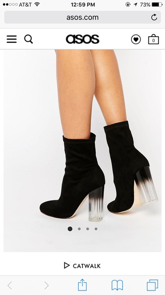 shoes black clear heel high heels boots black and white asos ankle boots