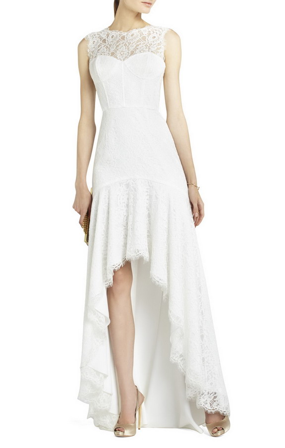 White BCBG Clarissa Sleeveless Lace High Low Prom Gown [BCBG Clarissa Dress] - $219.00 : Prom Dresses 2014 Sale, 70% off Dresses for Prom