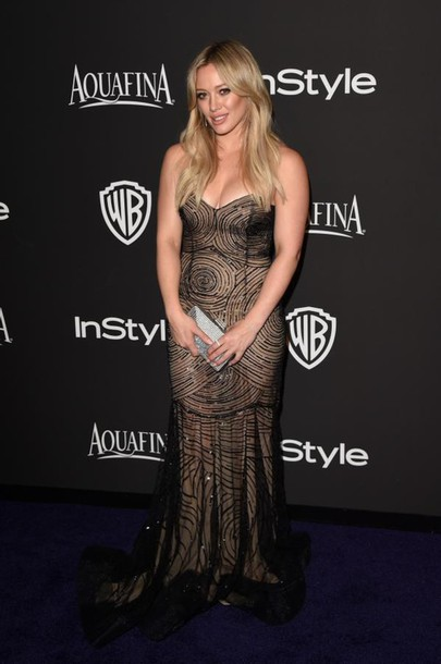 golden globe 2015 after party hilary duff gown