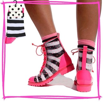 shoes pink boots laces see through clear