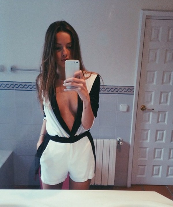 jumpsuit black white cute sexy style