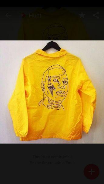 jacket coat gucci mane gucci man yellow raincoat windbreaker