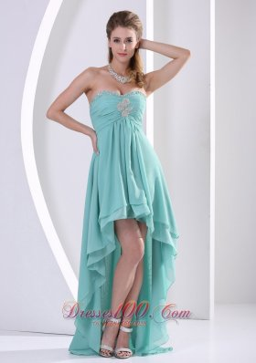Prom Holiday Dress High-low Turquoise Beading Chiffon Layers - US$148.67