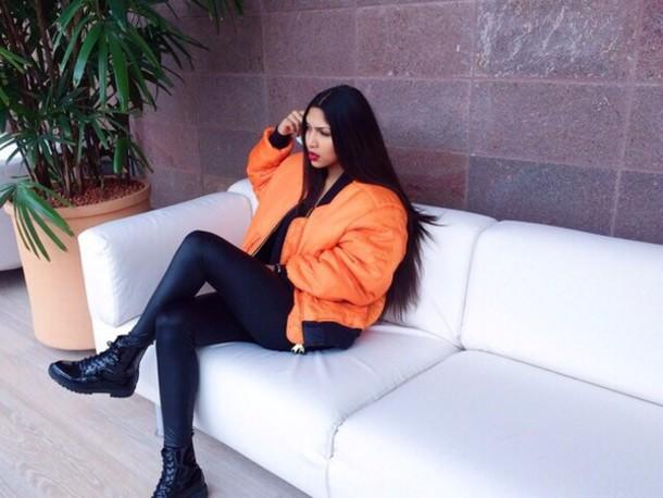 coat shoes coat jacket bomber jacket orange bomber jacket rust blouse orange bomber jacket