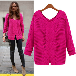 SW61 2013 Celebrity Style Women Loose Fit Sweater Coat Slit Hem Cable Knitted Pullover Tops Jumper Plus Size S XL Free Shipping-in Pullovers from Apparel & Accessories on Aliexpress.com