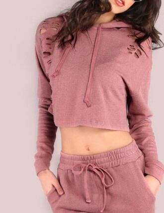 jumpsuit pink muave pink crop cropped cropped sweater cropped hoodie