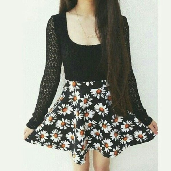 skirt sunflower black shirt black skirt daysies