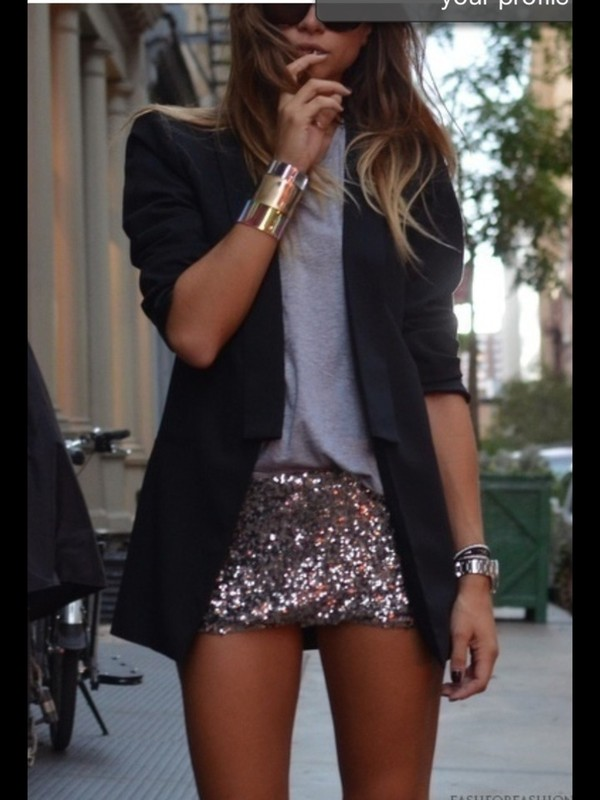 shirt sequins bodycon gold silver skirt