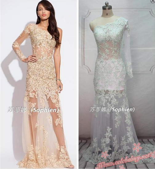 Celebrity prom dress: Celebrity white lace one shoulder prom dress $159.99 each at Celebsbuy.net