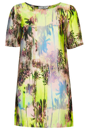 **Tropical Silky T-Shirt Dress by Oh My Love - Topshop