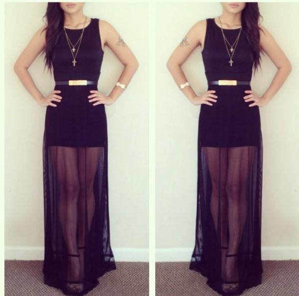 dress maxi dress black dress black maxi dress transparent belt clothes