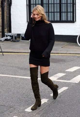 shoes suede low heel over the knee thigh highs boots
