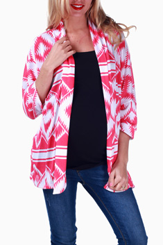 Pink-White-Tribal-Printed-Maternity-Cardigan