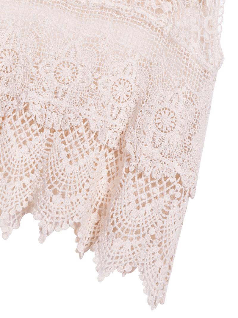 Beige Scoop Neck Sleeveless Lace Vest - Sheinside.com