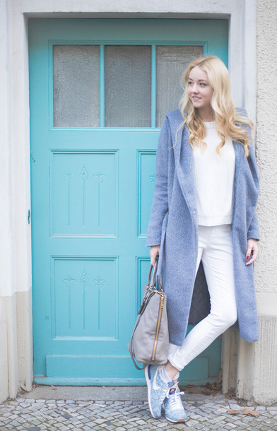 the limits of control blogger blonde hair white jeans white winter coat light blue nike sneakers pastel sneakers coat