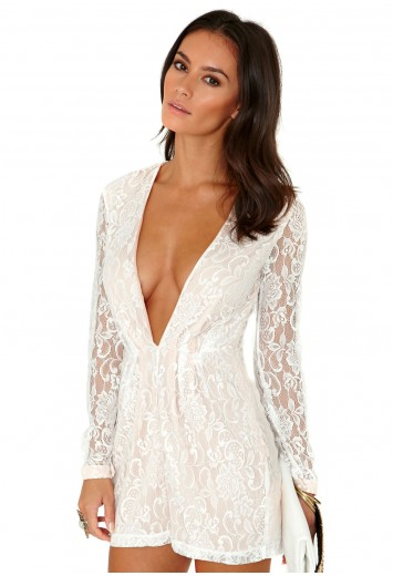 Jacy Long Sleeve Lace Playsuit - Jumpsuits & Playsuits - Clothing - Missguided