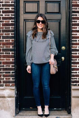sequins and stripes blogger top shoes bag sunglasses make-up shoulder bag blouse pumps high heel pumps