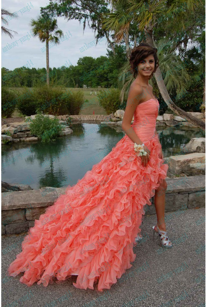 2013 New A Line Beading Sweetheart Ruffles Long Coral Organza Party Prom Dresses   eBay