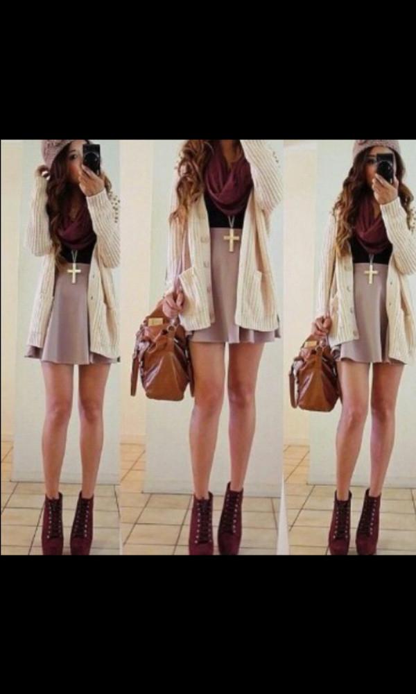 sweater cardigan white cardigan maxi cardigan knitted cardigan scarf skirt short skirt pink skirt fall outfits fall skirt