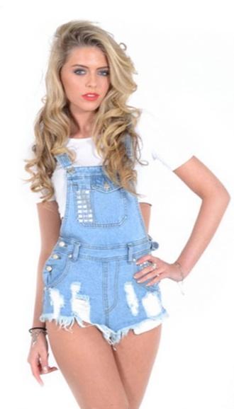 denim overalls dungarees shorts distressed denim shorts summer short overalls