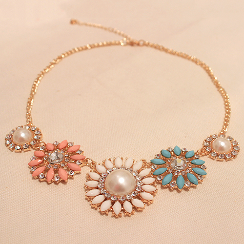 Accessories fashion pearl rhinestone sun flower necklace pendant clothes accessories pendants necklace XL440-inPendants from Jewelry on Aliexpress.com