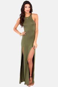 Stem Spells Army Green Racerback Maxi Dress Sexy Slit Stretch Fitted | eBay