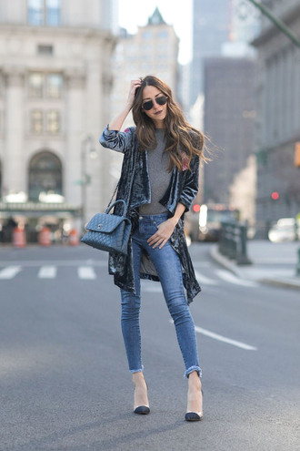something navy blogger jacket top jeans bag sunglasses shoes