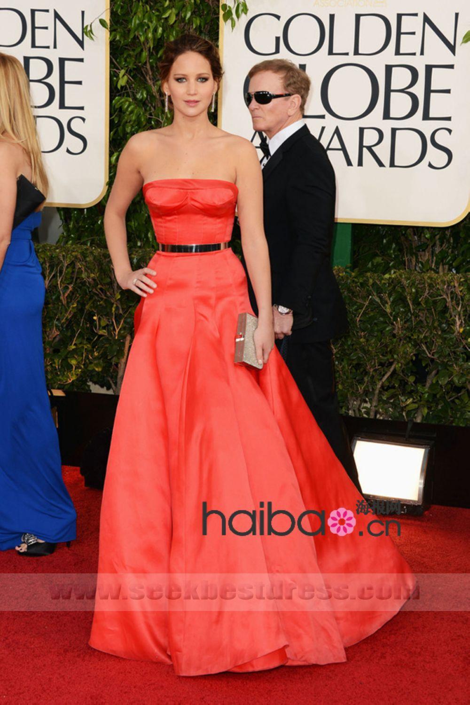 2013 JENNIFER LAWRENCE 70th Golden Globe Ellred taffeta Keren Craig A line Red Carpet Celebrity Dress Golden Globes Award-in Celebrity-Inspired Dresses from Apparel & Accessories on Aliexpress.com