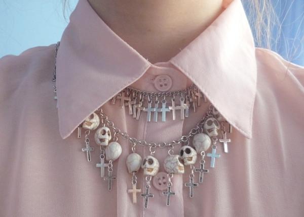 pink shirt cross silver necklace skeleton halloween halloween accessory