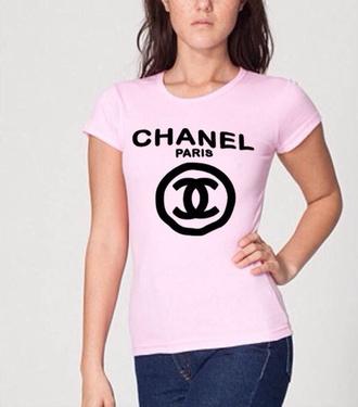 t-shirt chanel chanel inspired celine paris tshirt pink bright pink bbydoll tshirt t-shirt dress