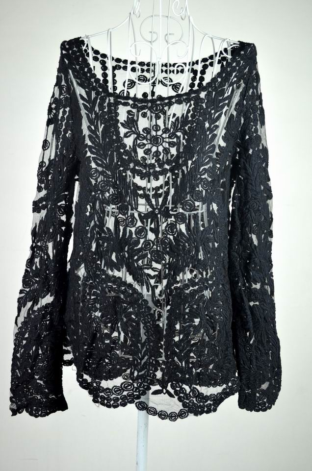 Hot Semi Sheer Women Sleeve Embroidery Floral Lace Crochet T Shirt Top Blouse | eBay