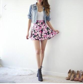 skirt rose pink floaty spring summer cute floral