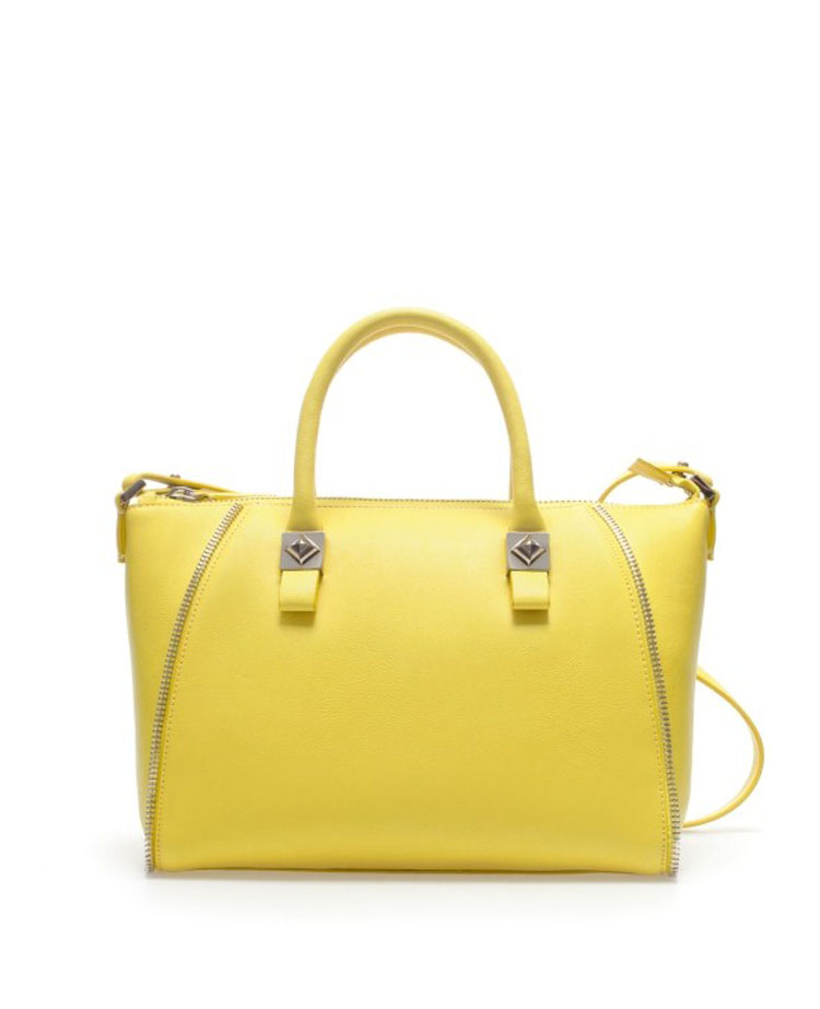 Zipped & Studded Yellow Leather Tote | BlackFive