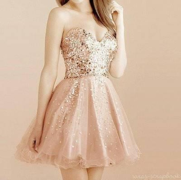 dress cute pink gold homecoming dress holiday dress