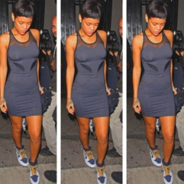 dress see through navy gray lace bodysuit bodycon sneakers sweetheart neckline skater rihanna celebrity style celebrity gold jewelry red nails mini dress thigh highs