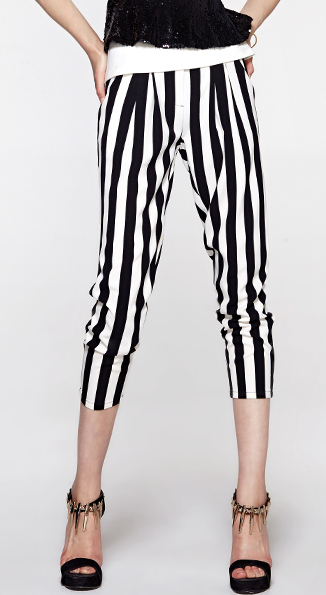 EAST KNITTING EA 001 2014 New Pants black white stripe harem pants casual leggings summer HOT SALE S M L XL PLUS SIZE-in Pants & Capris from Apparel & Accessories on Aliexpress.com
