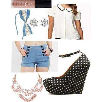 blouse high waisted shorts peter pan collar camila cabello bows shorts shoes