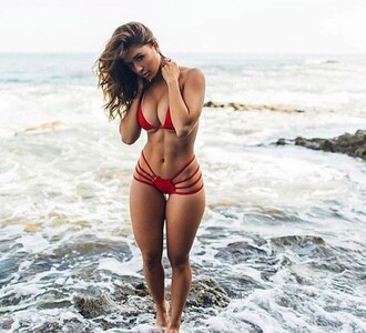 swimwear bikini red bikini red two-piece