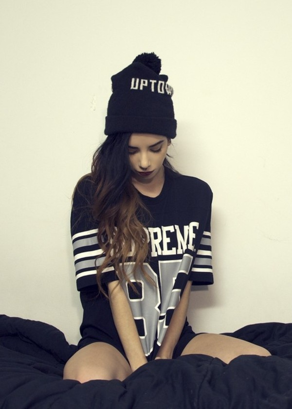 shirt jersey supreme hat black