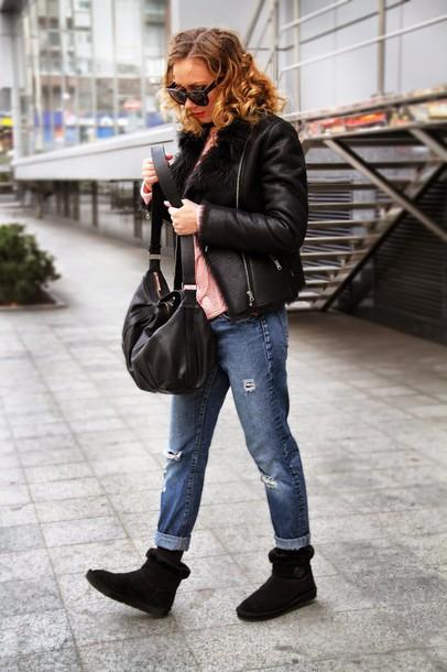 dream love shop blogger coat jeans sweater shoes bag sunglasses naf naf