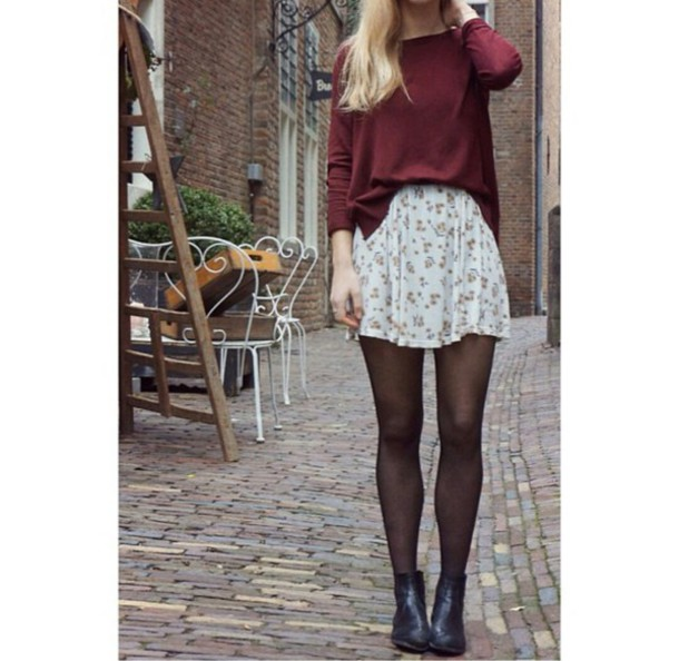 Sweater: floral skirt, skirt, tights, ankle boots, style ...