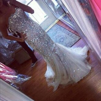 dress sequin dress prom sparkle gown long gown jewels fashion ivory dress sparkling dress mermaid wedding dress sliver mermaid