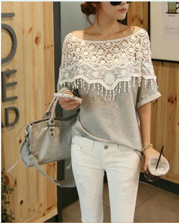 sweater white grey black fashion lace cute top hoodie open cut wow glasses jeans classy sassy trendy