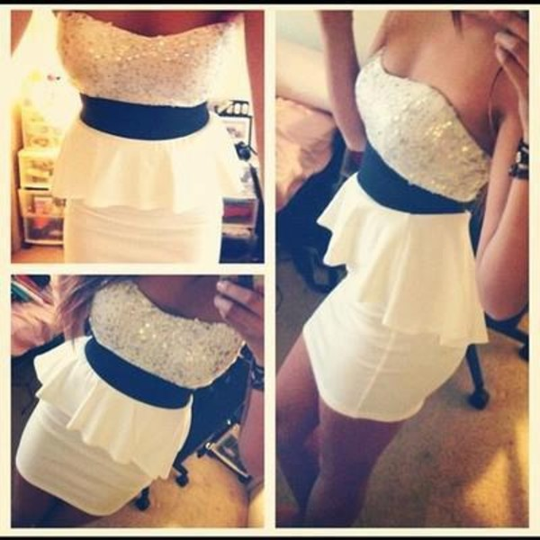 white dress strapless white skirt dress white peplumdress short